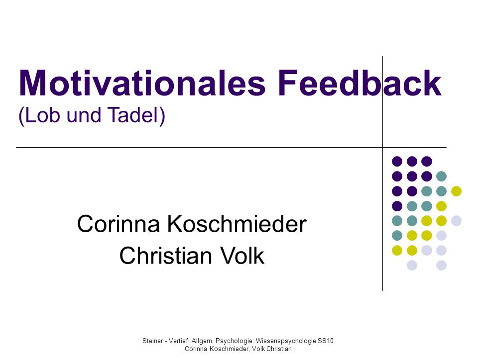 Motivationales Feedback (Lob und Tadel)‏