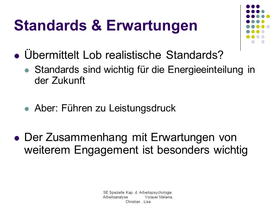 Standards & Erwartungen