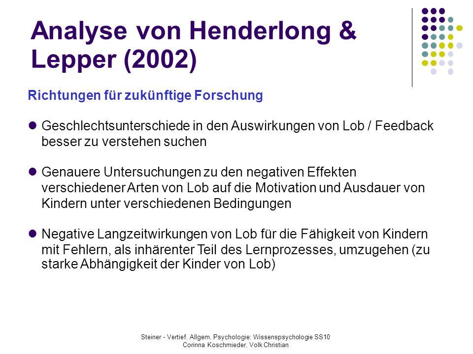 Analyse von Henderlong & Lepper (2002)