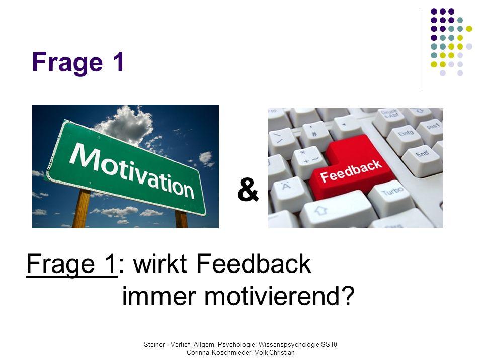 & Frage 1 Frage 1: wirkt Feedback immer motivierend 2 2