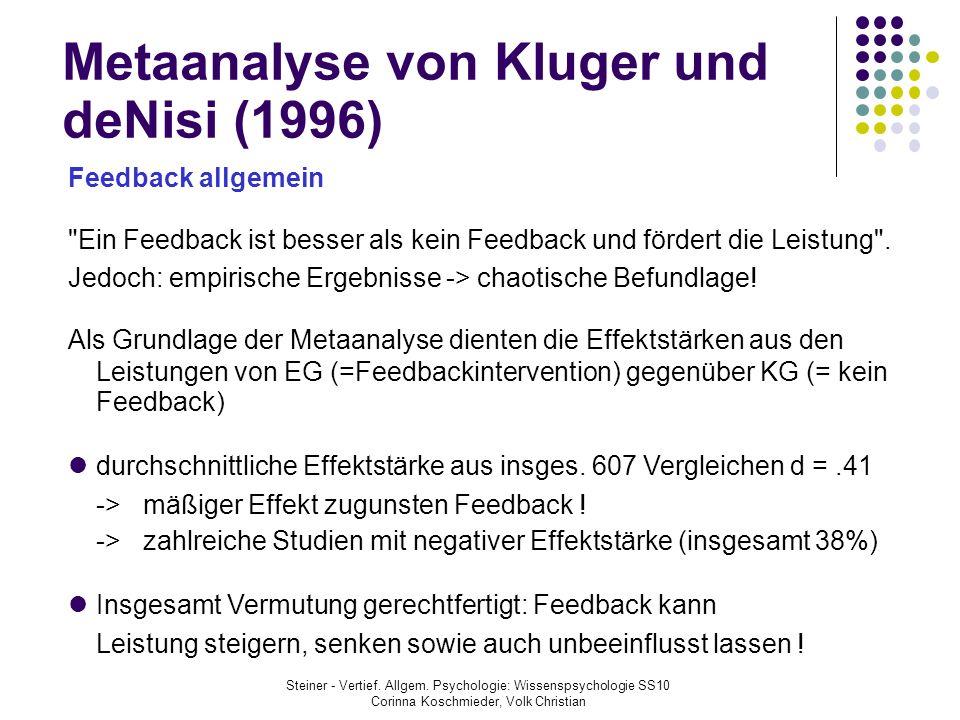 Metaanalyse von Kluger und deNisi (1996)