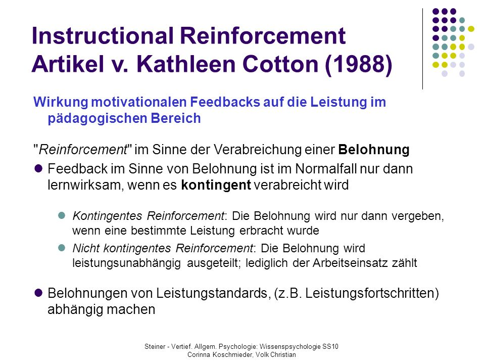 Instructional Reinforcement Artikel v. Kathleen Cotton (1988)
