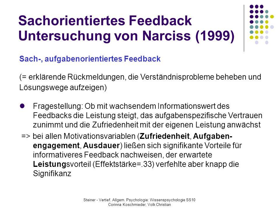 Sachorientiertes Feedback Untersuchung von Narciss (1999)