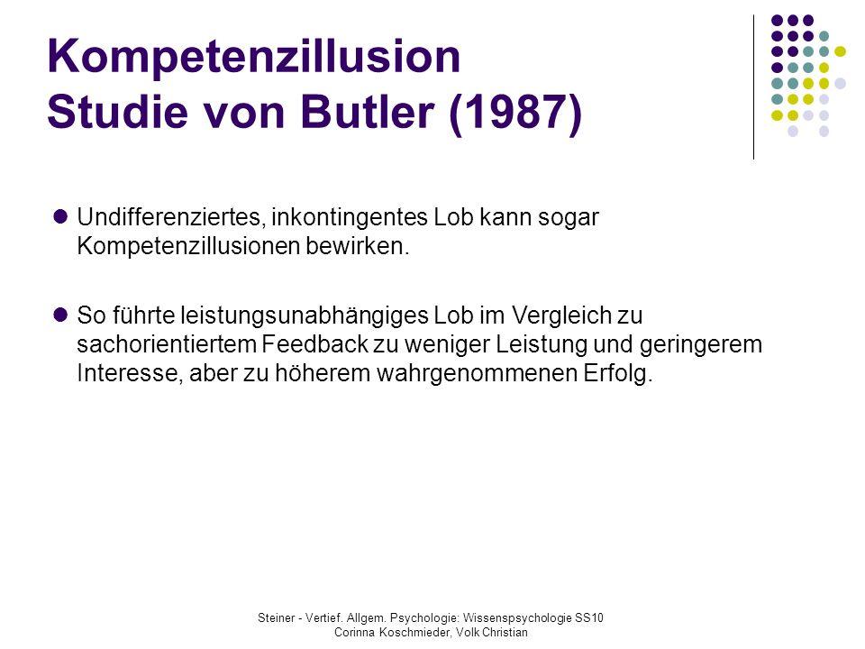 Kompetenzillusion Studie von Butler (1987)
