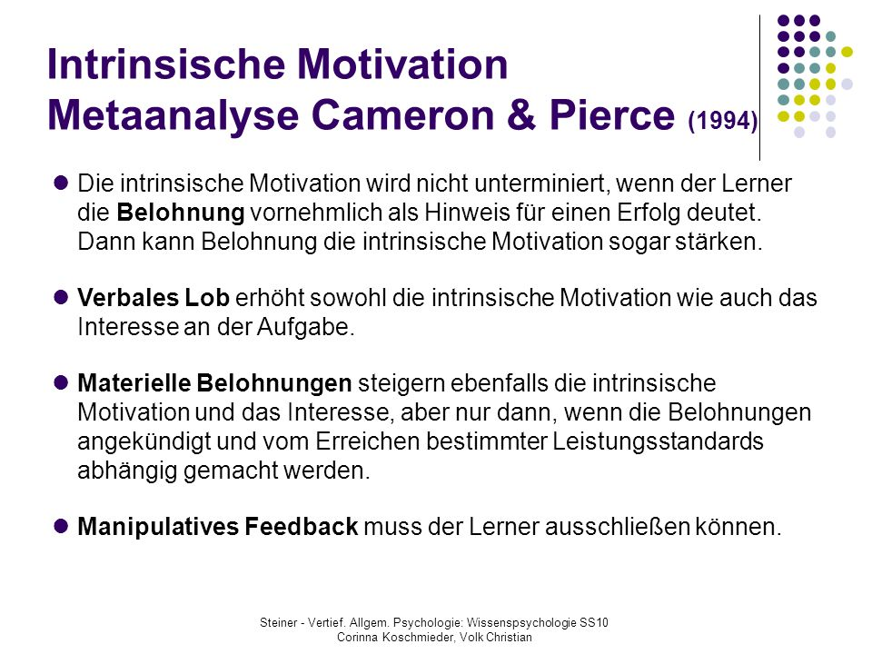 Intrinsische Motivation Metaanalyse Cameron & Pierce (1994)