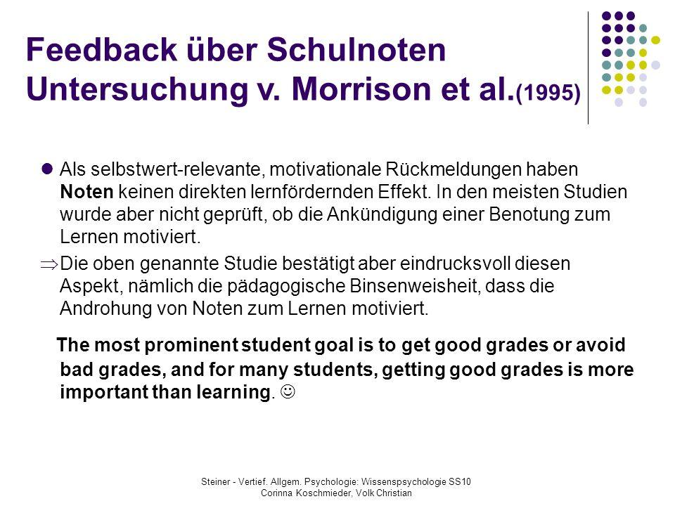 Feedback über Schulnoten Untersuchung v. Morrison et al.(1995)