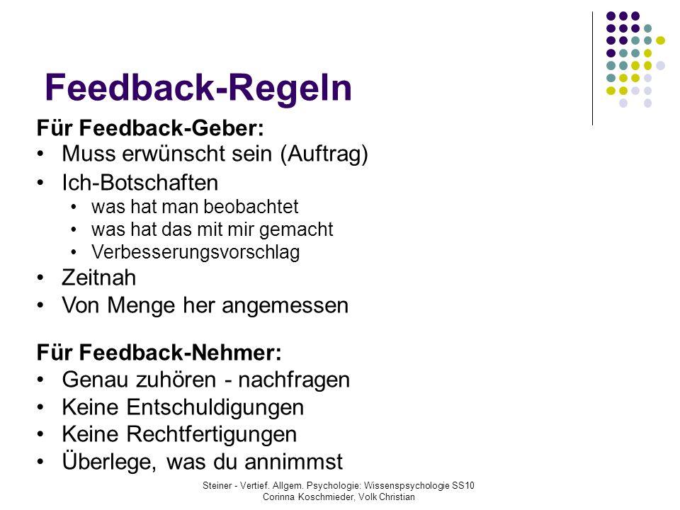 Feedback-Regeln Für Feedback-Geber: Muss erwünscht sein (Auftrag)