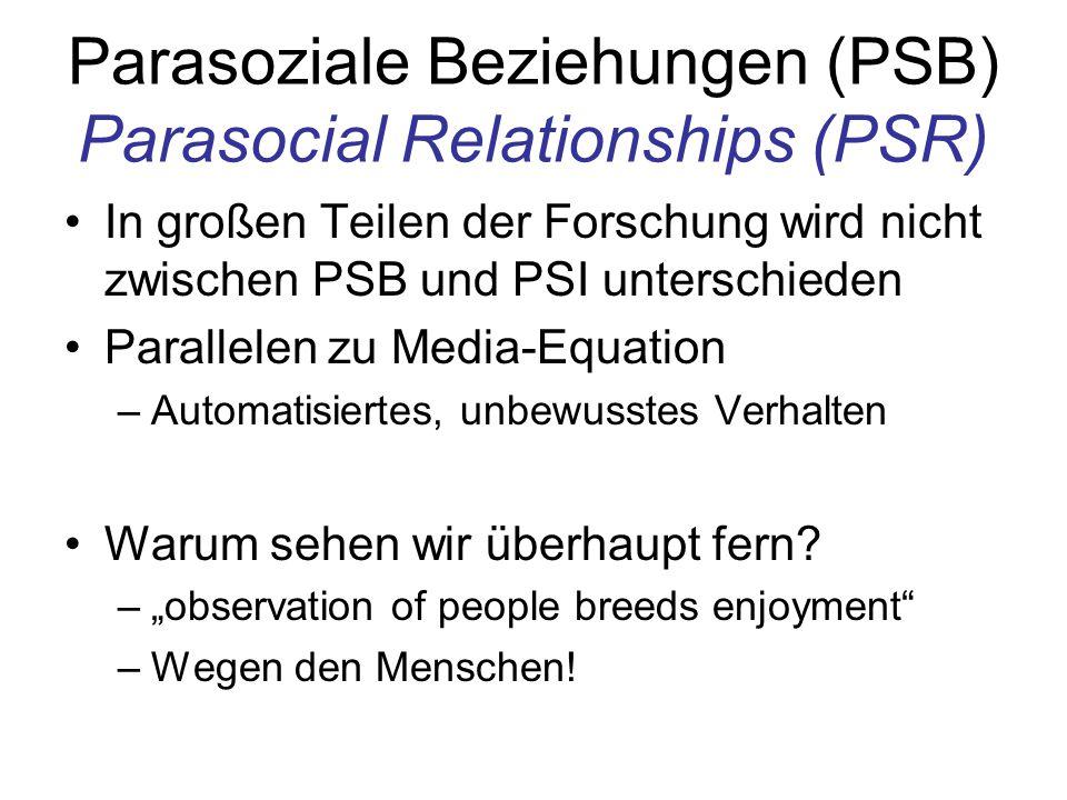 Parasoziale Beziehungen (PSB) Parasocial Relationships (PSR)