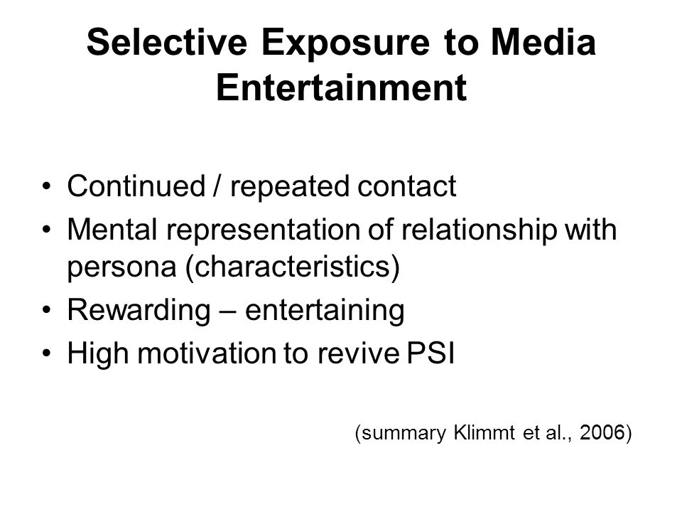 Selective Exposure to Media Entertainment