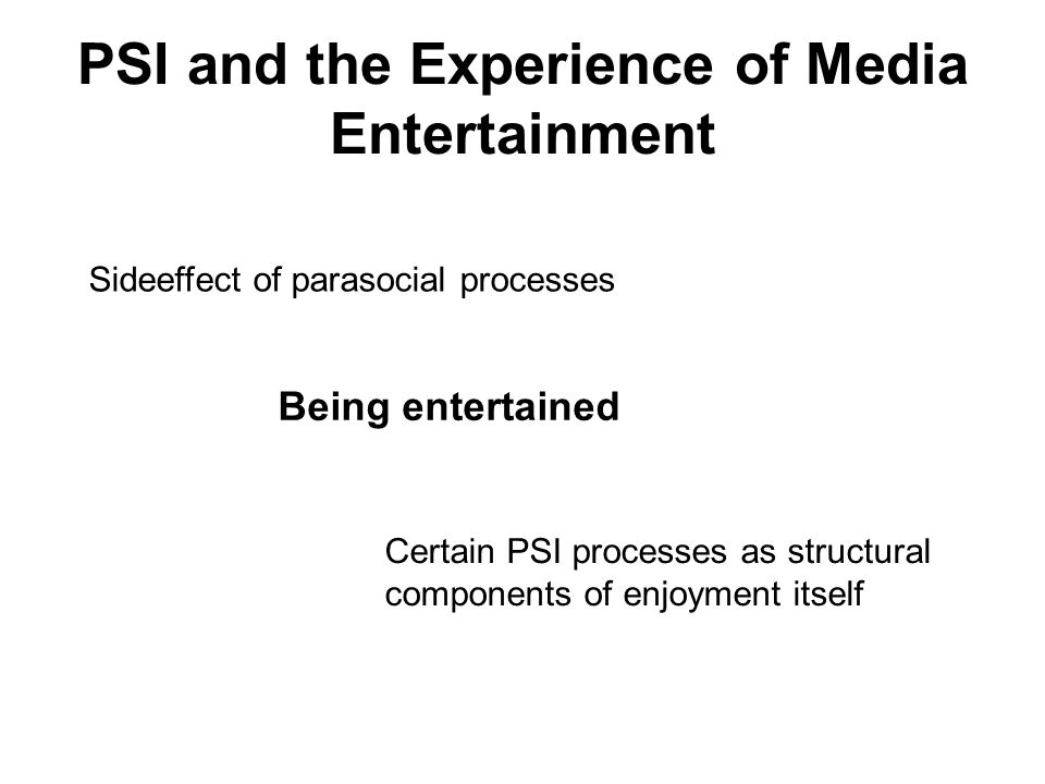 PSI and the Experience of Media Entertainment