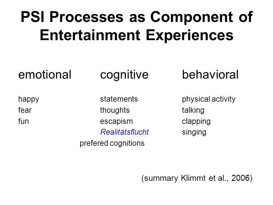 PSI Processes as Component of Entertainment Experiences