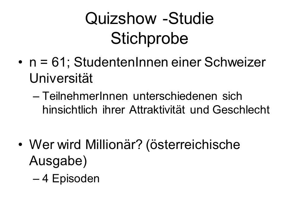 Quizshow -Studie Stichprobe