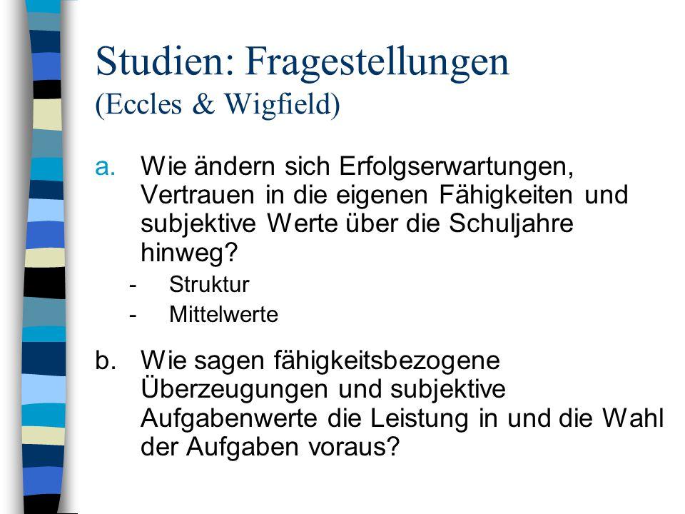 Studien: Fragestellungen (Eccles & Wigfield)