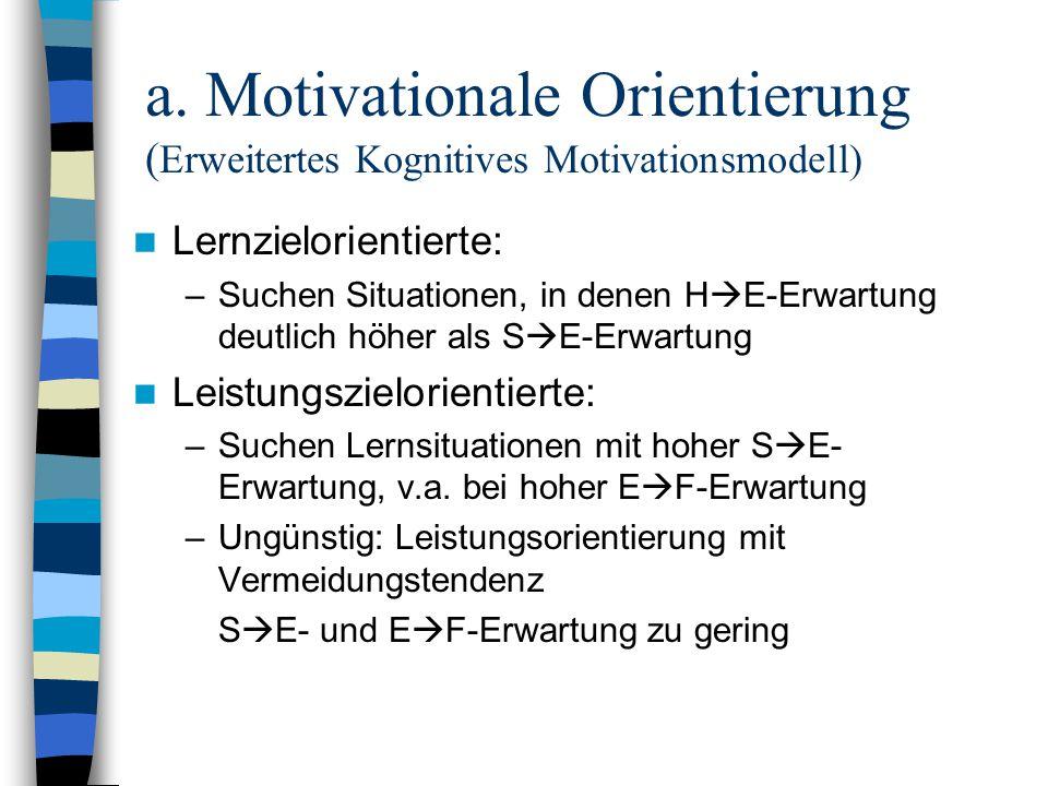 a. Motivationale Orientierung (Erweitertes Kognitives Motivationsmodell)