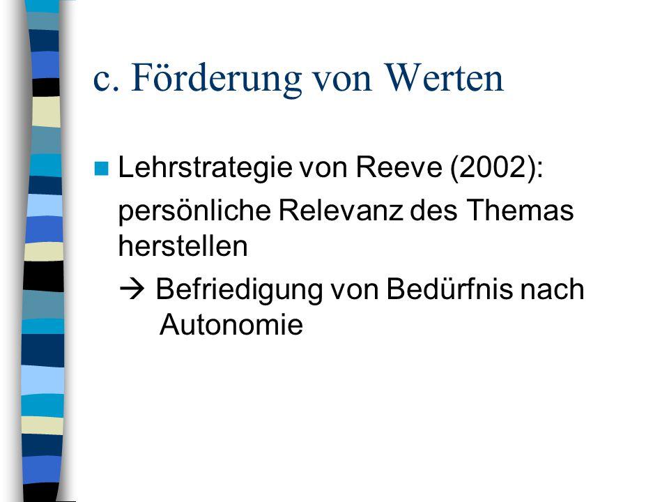 c. Förderung von Werten Lehrstrategie von Reeve (2002):