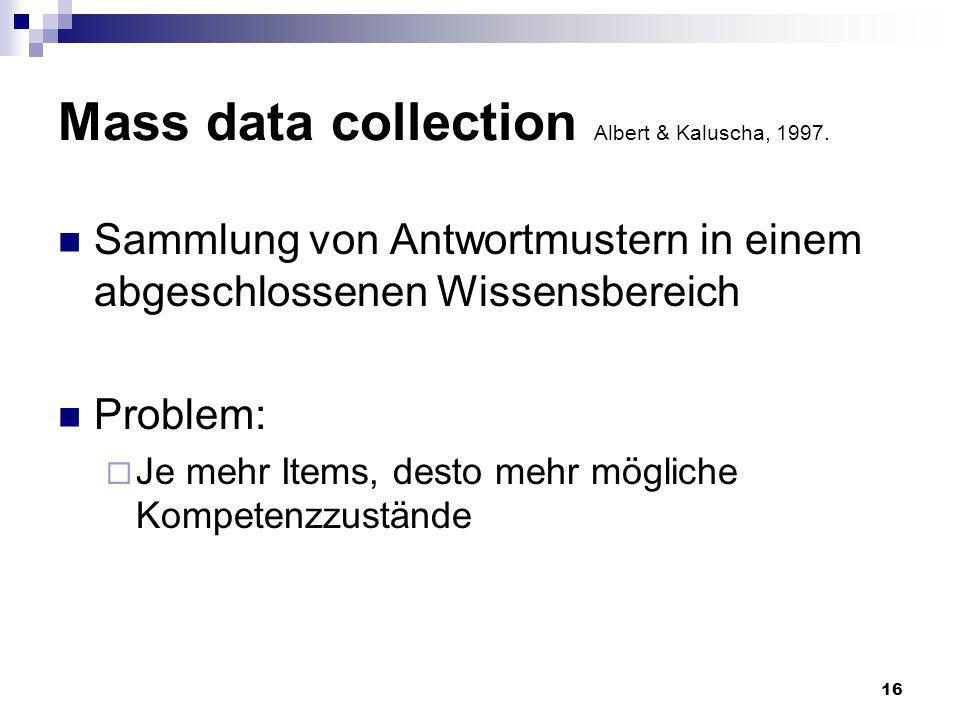 Mass data collection Albert & Kaluscha, 1997.