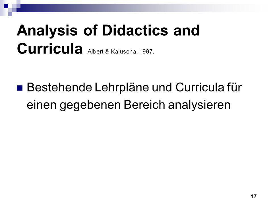 Analysis of Didactics and Curricula Albert & Kaluscha, 1997.