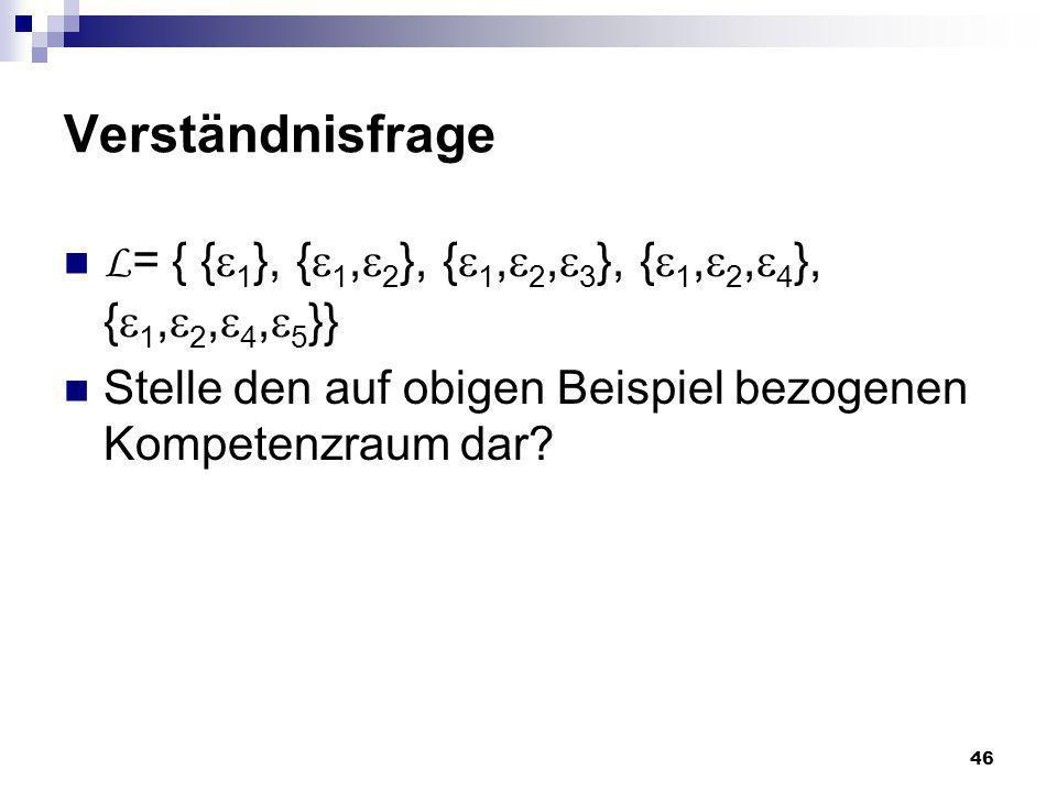 Verständnisfrage L= { {1}, {1,2}, {1,2,3}, {1,2,4}, {1,2,4,5}} Stelle den auf obigen Beispiel bezogenen Kompetenzraum dar