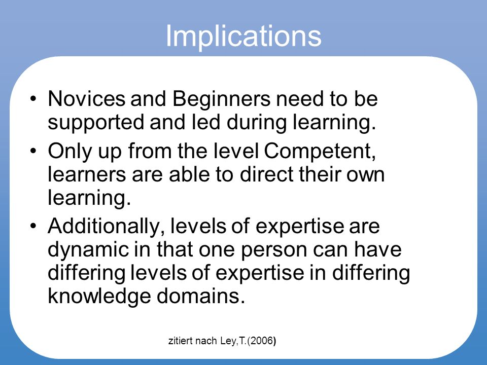 Implications Novices and Beginners need to be supported and led during learning.