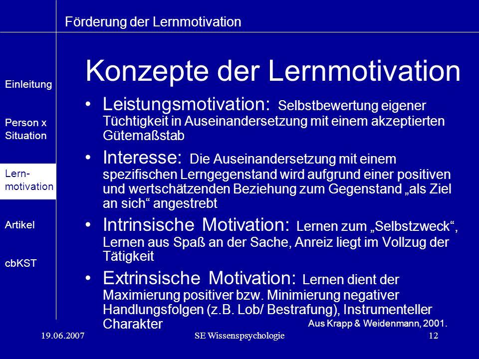 Konzepte der Lernmotivation