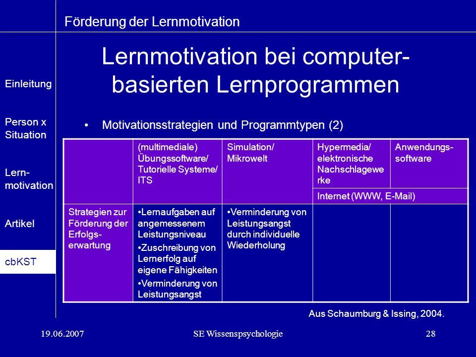 Lernmotivation bei computer-basierten Lernprogrammen