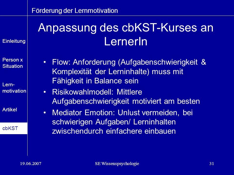 Anpassung des cbKST-Kurses an LernerIn