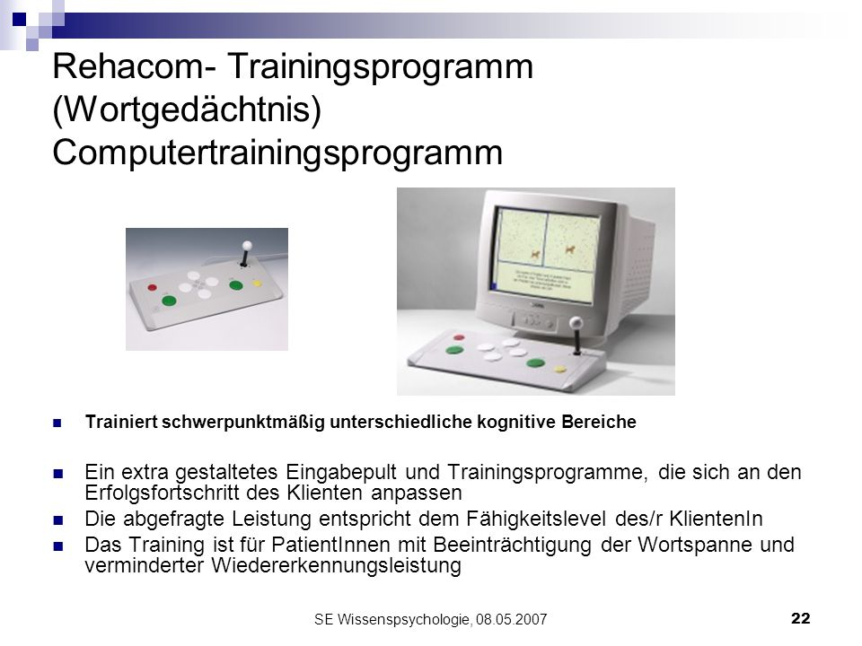 Rehacom- Trainingsprogramm (Wortgedächtnis) Computertrainingsprogramm