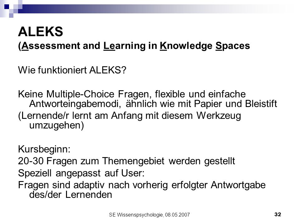 ALEKS (Assessment and Learning in Knowledge Spaces