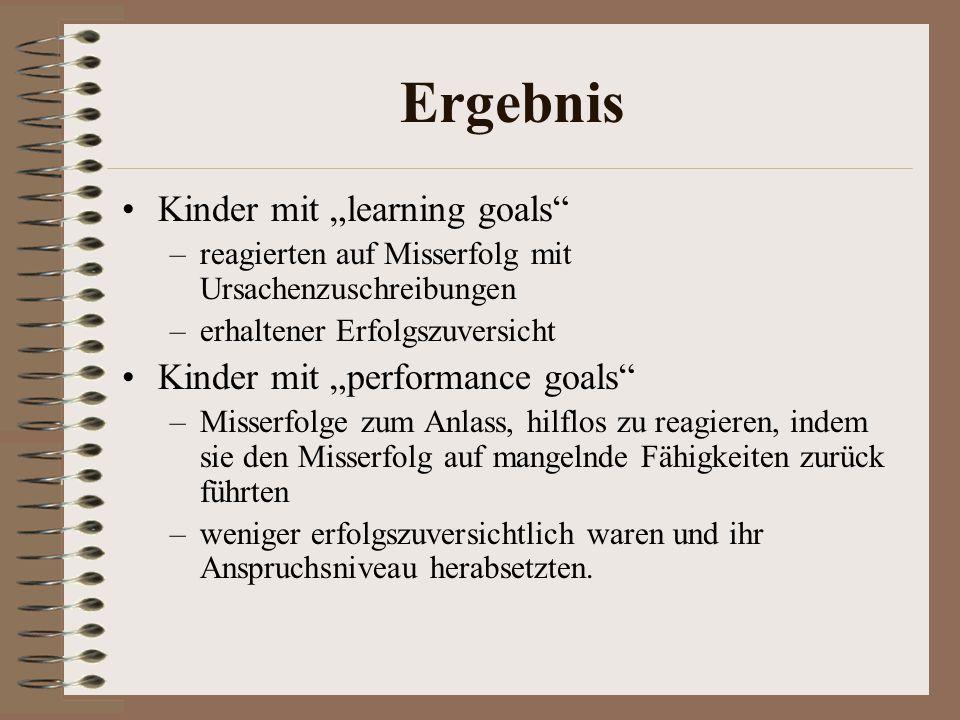 "Ergebnis Kinder mit ""learning goals Kinder mit ""performance goals"