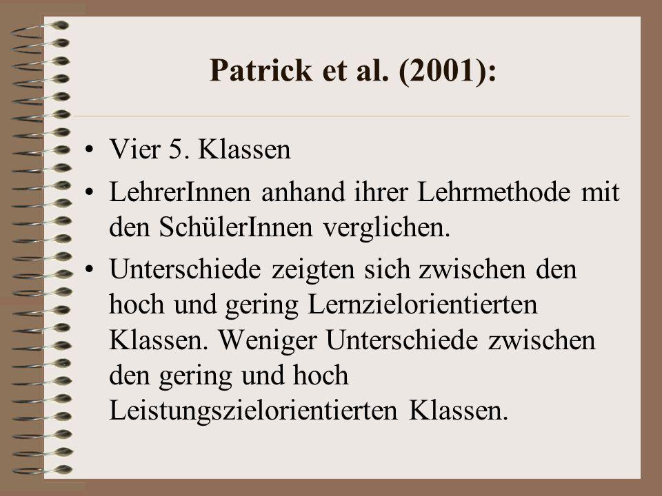 Patrick et al. (2001): Vier 5. Klassen
