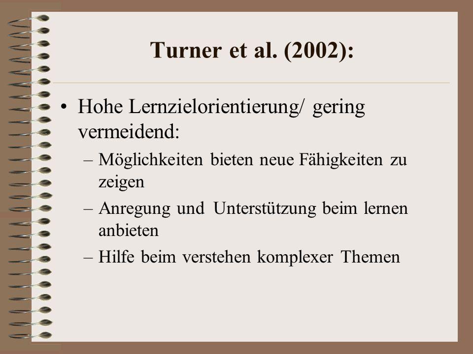 Turner et al. (2002): Hohe Lernzielorientierung/ gering vermeidend: