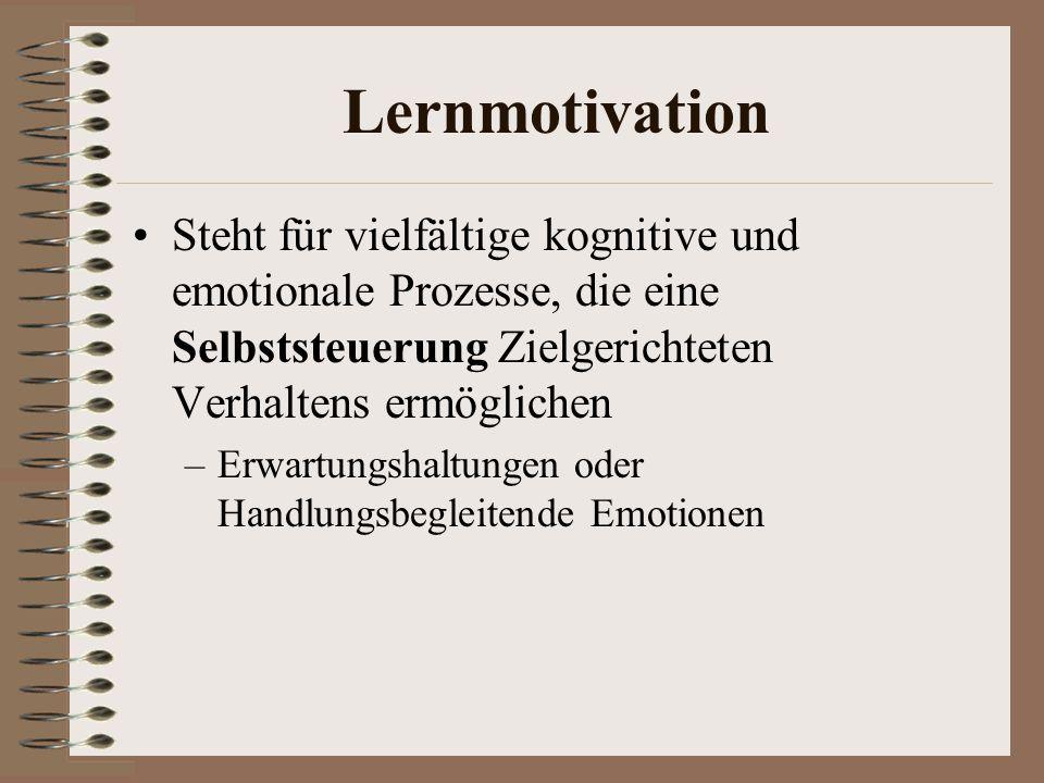 Lernmotivation Steht für vielfältige kognitive und emotionale Prozesse, die eine Selbststeuerung Zielgerichteten Verhaltens ermöglichen.
