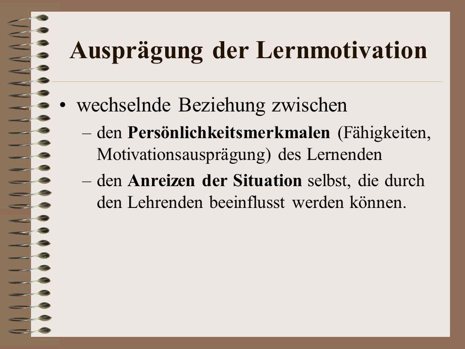 Ausprägung der Lernmotivation