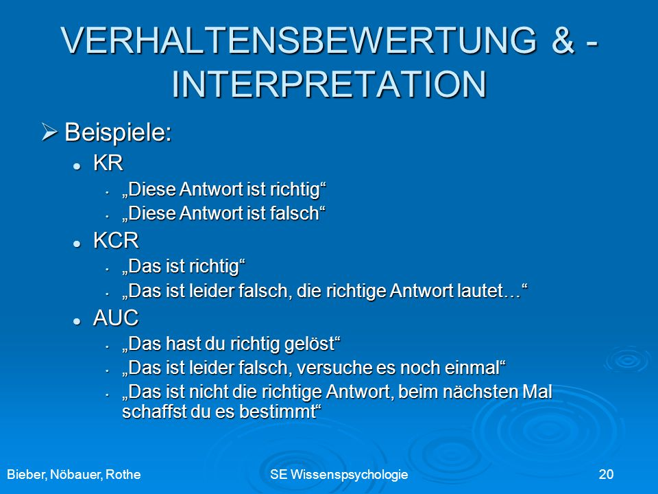 VERHALTENSBEWERTUNG & -INTERPRETATION