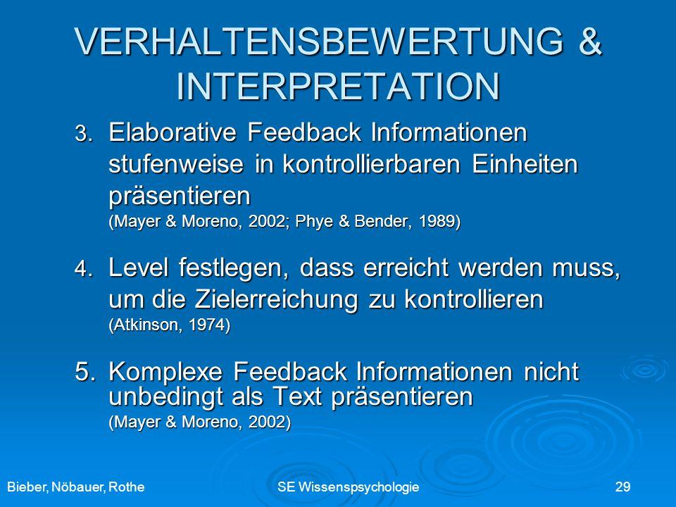 VERHALTENSBEWERTUNG & INTERPRETATION