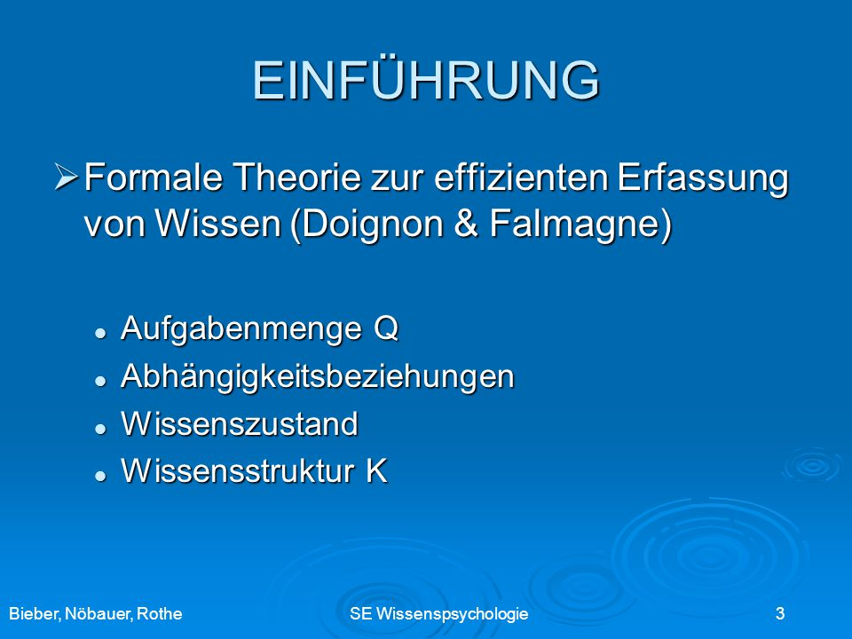 EINFÜHRUNG Formale Theorie zur effizienten Erfassung von Wissen (Doignon & Falmagne) Aufgabenmenge Q.