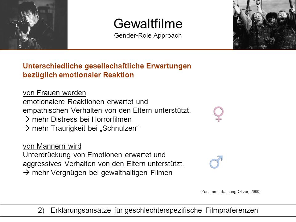 Gewaltfilme Gender-Role Approach