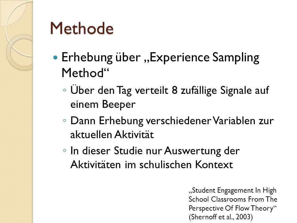 "Methode Erhebung über ""Experience Sampling Method"
