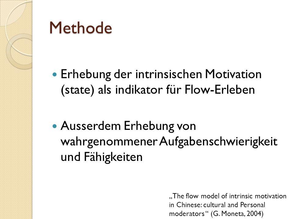 Methode Erhebung der intrinsischen Motivation (state) als indikator für Flow-Erleben.