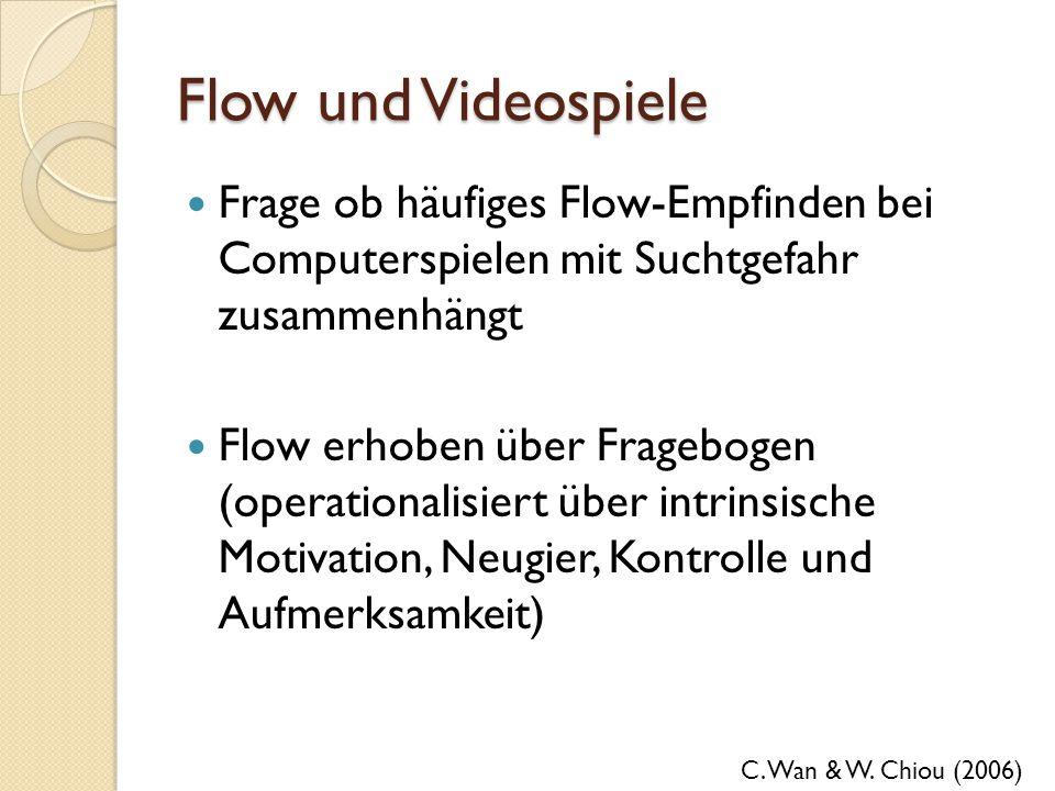 Flow und Videospiele Frage ob häufiges Flow-Empfinden bei Computerspielen mit Suchtgefahr zusammenhängt.