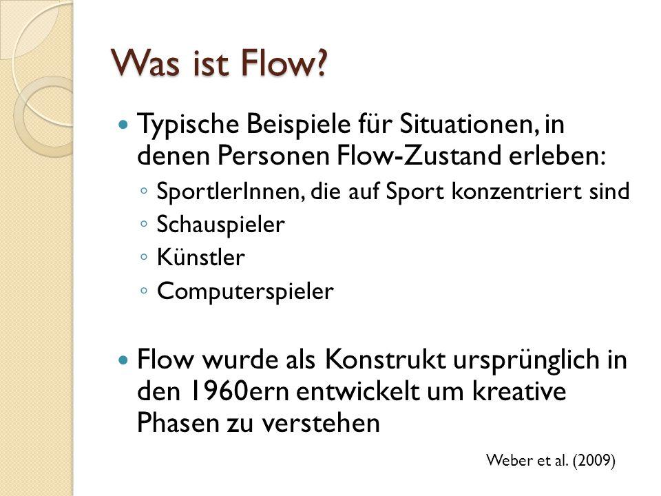 Was ist Flow Typische Beispiele für Situationen, in denen Personen Flow-Zustand erleben: SportlerInnen, die auf Sport konzentriert sind.