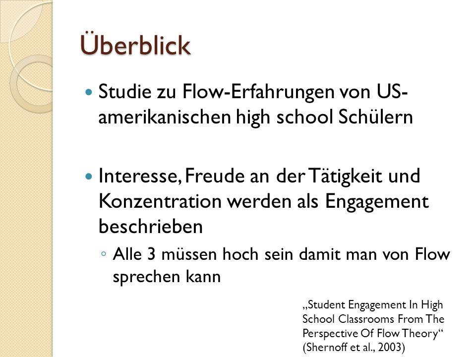Überblick Studie zu Flow-Erfahrungen von US- amerikanischen high school Schülern.