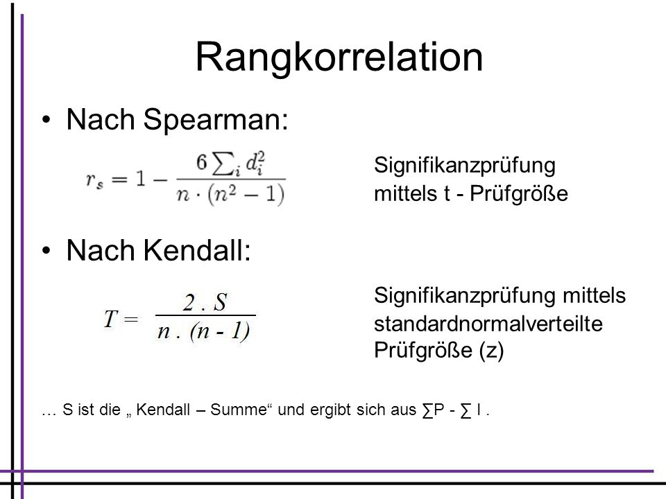 Rangkorrelation Nach Spearman: