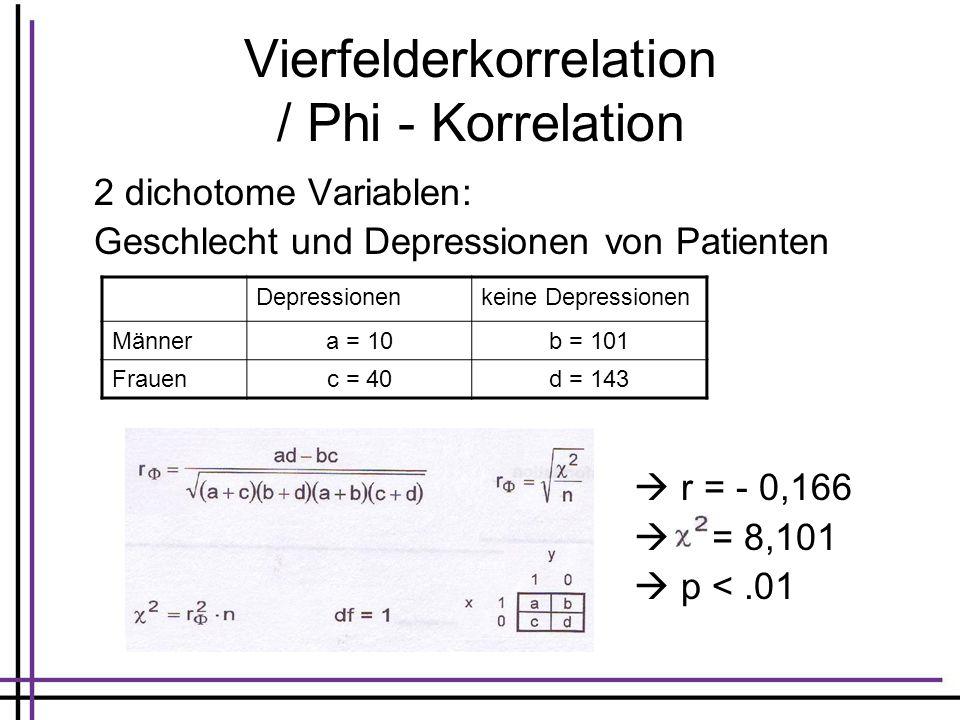 Vierfelderkorrelation / Phi - Korrelation