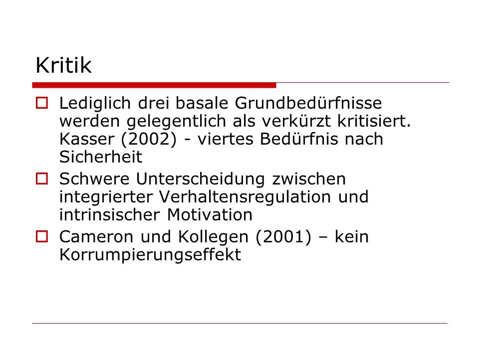 Kritik Lediglich drei basale Grundbedürfnisse werden gelegentlich als verkürzt kritisiert. Kasser (2002) - viertes Bedürfnis nach Sicherheit.