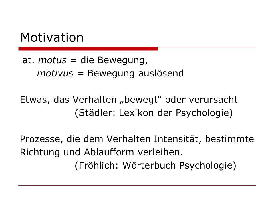 Motivation lat. motus = die Bewegung, motivus = Bewegung auslösend