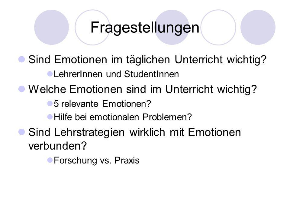 Fragestellungen Sind Emotionen im täglichen Unterricht wichtig