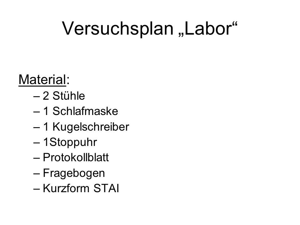 """Versuchsplan """"Labor Material: 2 Stühle 1 Schlafmaske 1 Kugelschreiber"""