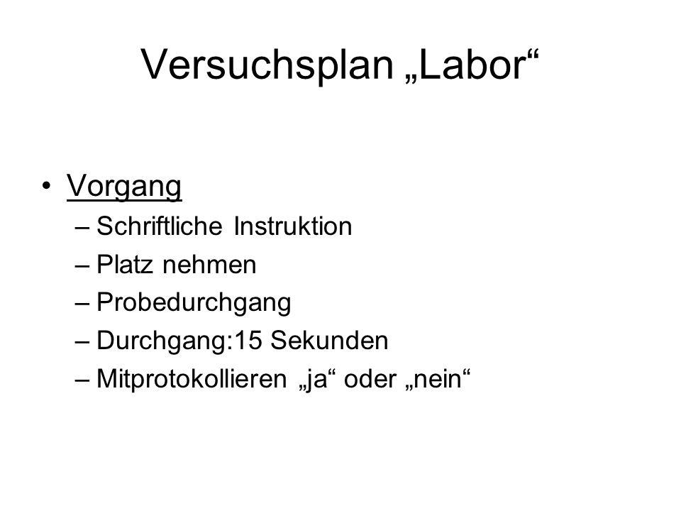 """Versuchsplan """"Labor Vorgang Schriftliche Instruktion Platz nehmen"""