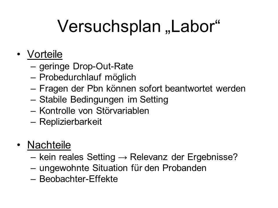 """Versuchsplan """"Labor Vorteile Nachteile geringe Drop-Out-Rate"""